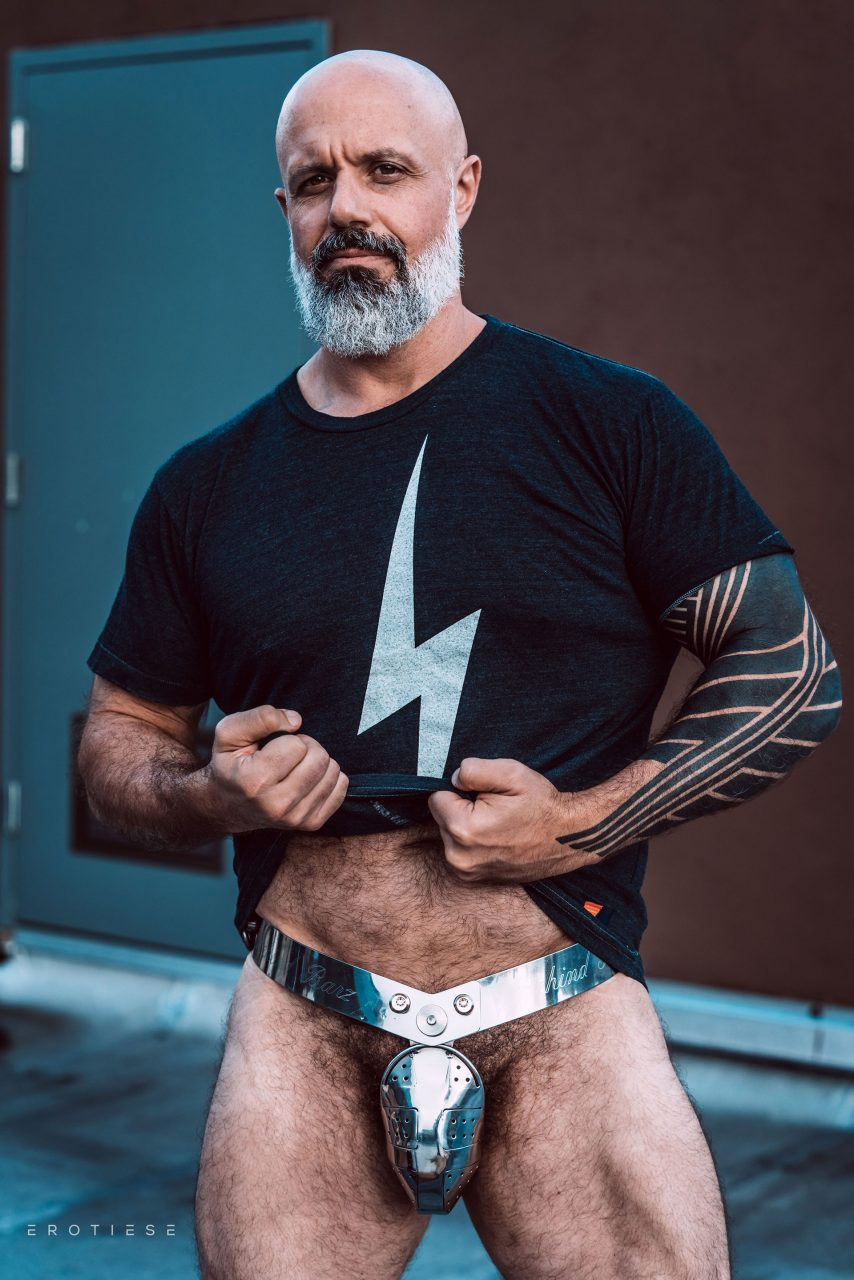 Erotiese Model In Behind Barz Metal Chastity Belt